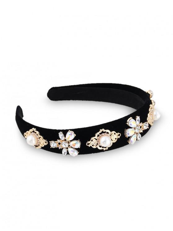 花水鑽人造珍珠絲絨發帶 - 黑色