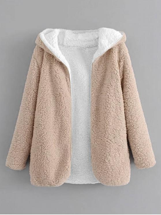 Hooded Open Front Lamb Wool Teddy Coat