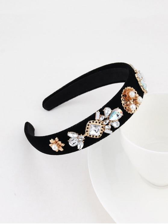 outfits Floral Faux Pearl Wide Velour Hairband - BLACK