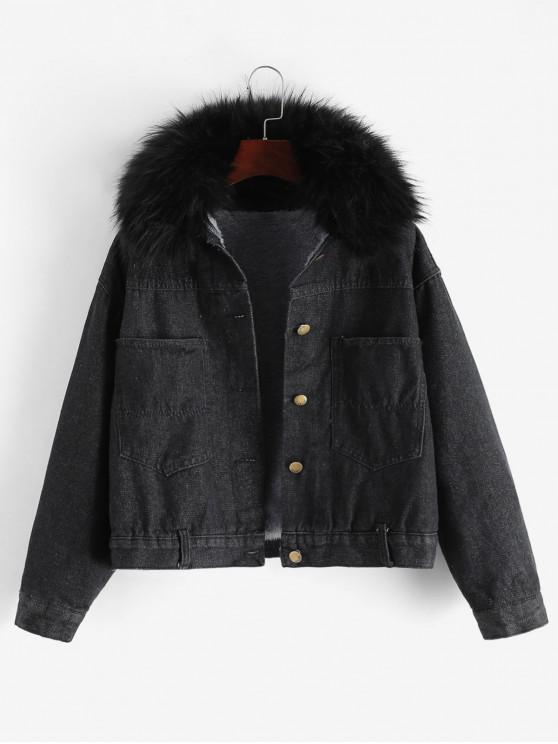 outfit Buttoned Fleece Lined Fur Collar Denim Jacket - BLACK XL