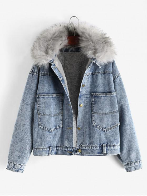 fancy Buttoned Fleece Lined Fur Collar Denim Jacket - DENIM DARK BLUE 2XL