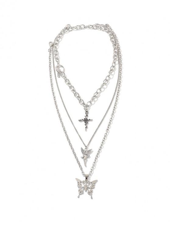 womens Angel Butterfly Multilayered Chian Necklace - SILVER
