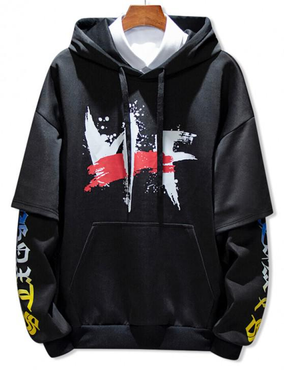latest Faux Two Pieces Graphic Print Hoodie - BLACK XL