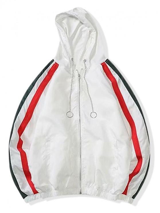 hot Color Spliced Zipper Leisure Jacket - WHITE L