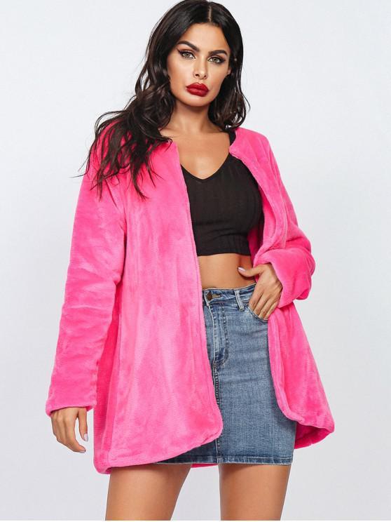 Faux Blana deschis frontal Tunica Coat - Trandafir rosu L