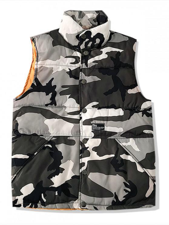 outfits Camo Printed Button Up Padded Waistcoat - LIGHT GRAY XS