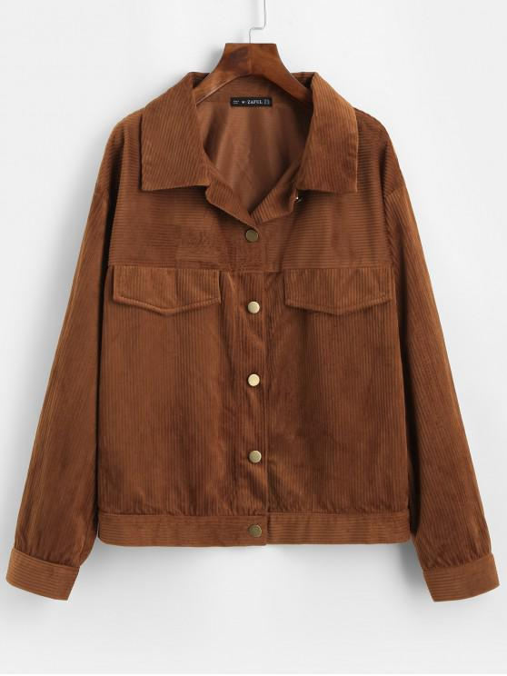 online ZAFUL Button Up Solid Corduroy Shirt Jacket - BROWN M