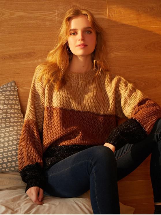Popular Sale Drop Shoulder Crew Neck Colorblock Jumper Sweater   Khaki Xl by Zaful