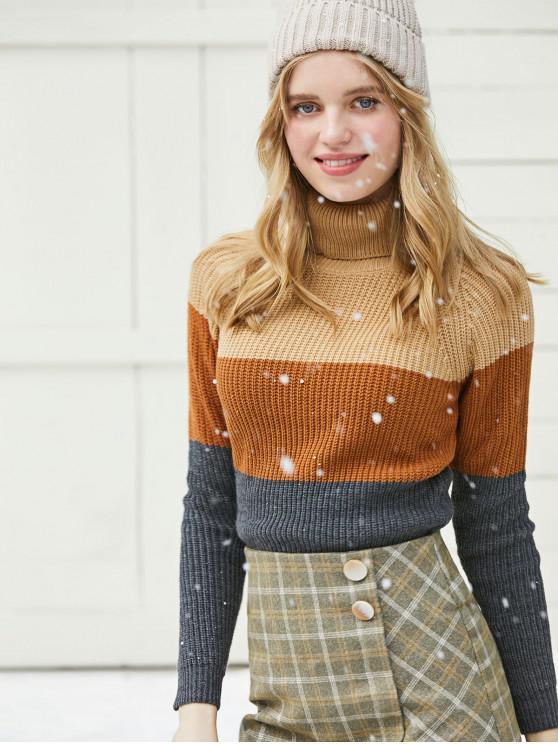 hot Colorblock Turtleneck Crop Sweater - KHAKI L