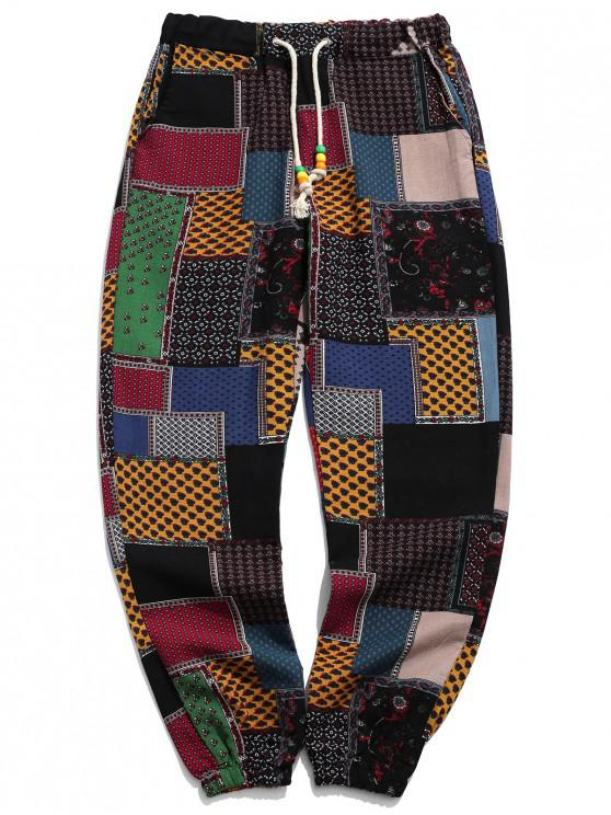 latest Tribal Ditsy Patchwork Print Long Jogger Pants - MULTI-A XS