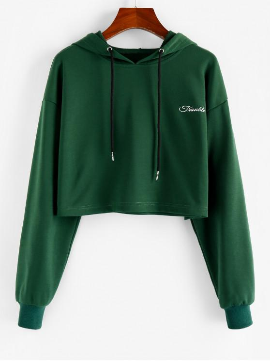 outfits ZAFUL Letter Graphic Drop Shoulder Crop Hoodie - MEDIUM SEA GREEN XL