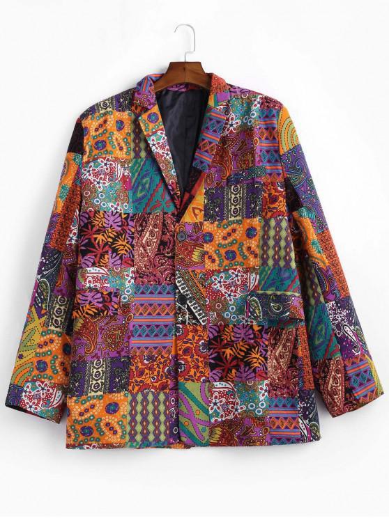 affordable Floral Print Linen Ethnic Blazer - MULTI M