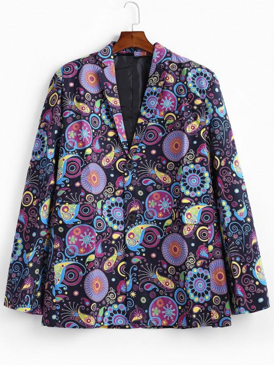 outfit Paisley Print Single Breasted Linen Blazer - MULTI 4XL