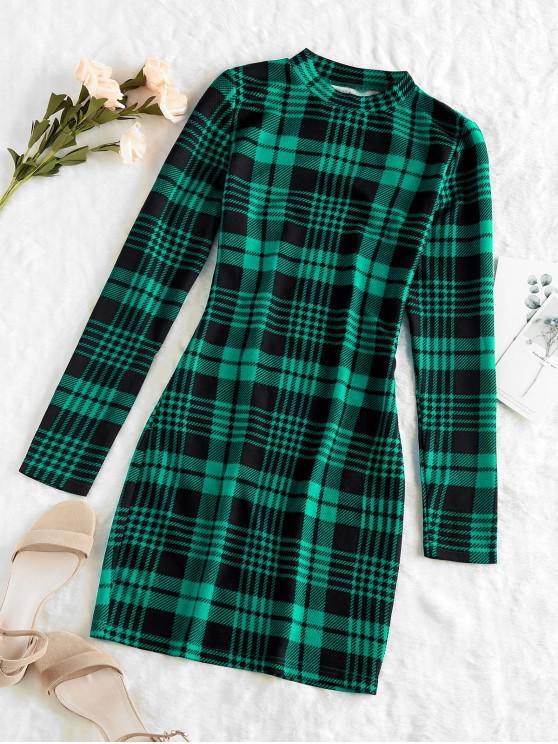 latest ZAFUL Plaid Houndstooth Bodycon Mini Dress - DEEP GREEN L