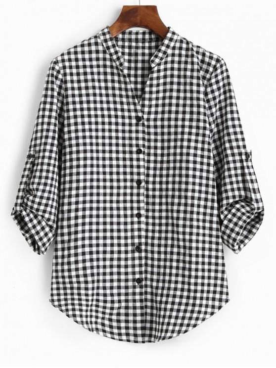 best ZAFUL Tab Sleeve Button Up Plaid Top - MULTI S