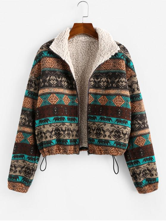 affordable ZAFUL Tribal Print Plaid Faux Fur Lined Jacket - MULTI M