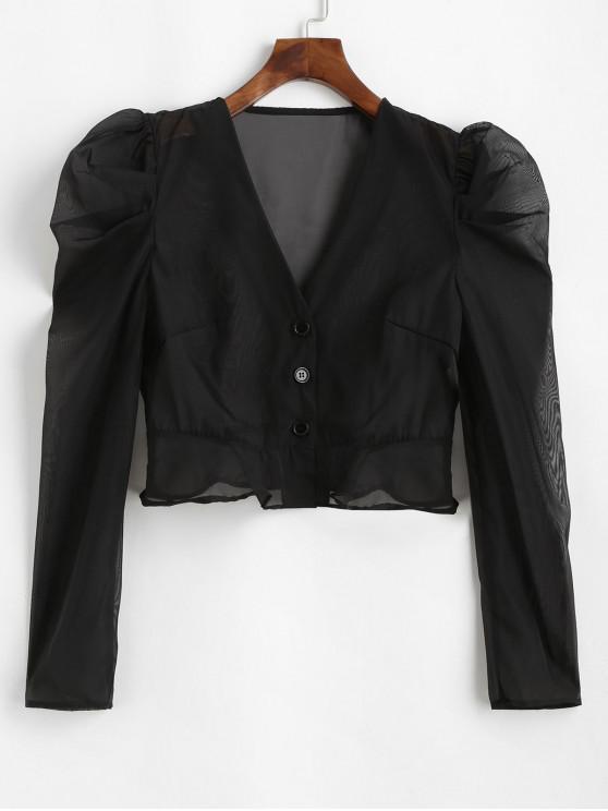 hot ZAFUL Buttoned Semi Sheer Organza Blouse - BLACK L