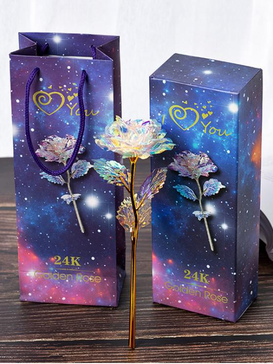 lady Colorful Plated Artificial Rose Flower In A Box - MULTI-A