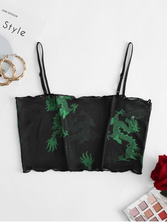 women's ZAFUL Mesh Dragon Print Sheer Lettuce Cami Top - BLACK L