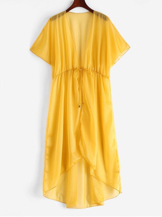latest Longline Tie Waist Hooded Sheer Cover Up - RUBBER DUCKY YELLOW ONE SIZE