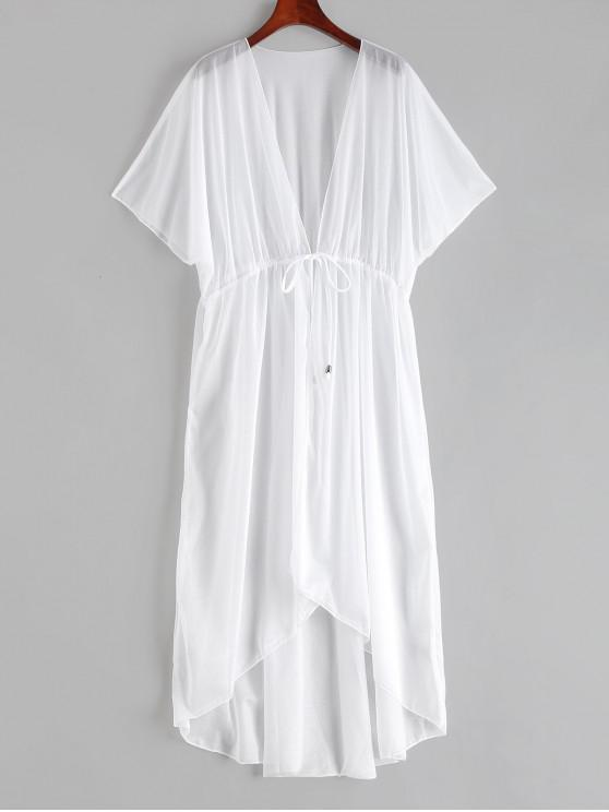 buy Longline Tie Waist Hooded Sheer Cover Up - WHITE ONE SIZE