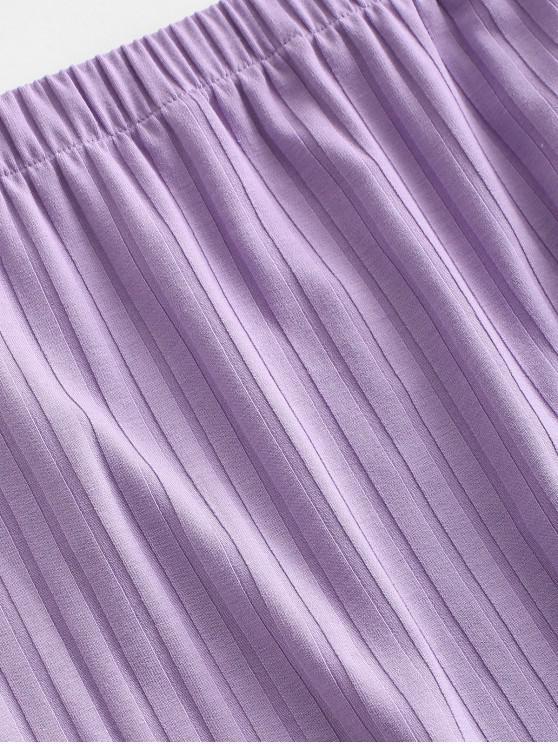 ZAFUL Ribbed Crop Two Piece Skirt Set - Purple S
