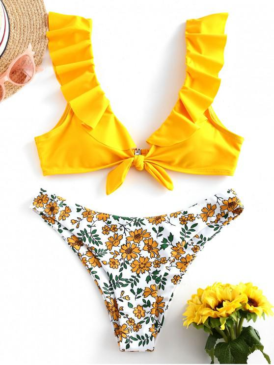 ZAFUL Flower Ruffle Legato Alta Leg Bikini Swimsuit - Giallo Luminoso S