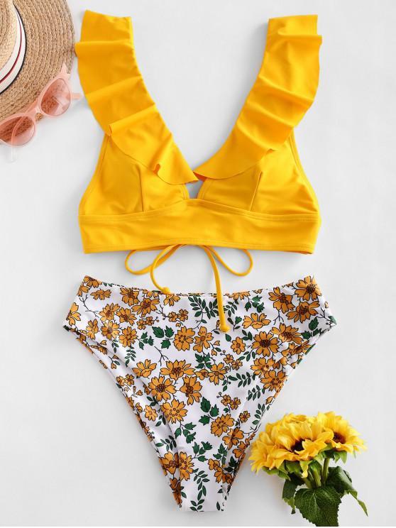 hot ZAFUL Flower Ruffle Lace Up Tankini Swimsuit - BRIGHT YELLOW 2XL