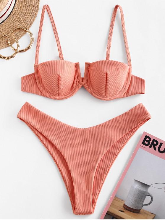 ZAFUL Bikini Badeanzug mit Geripptem V Ausschnitt und Bügel und Hohem Bein - Dunkler Salm M