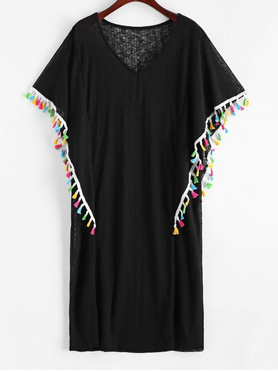 outfits V Neck Colorful Tassels Beach Cover Up Dress - BLACK ONE SIZE
