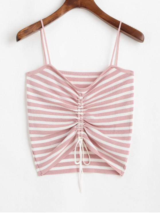 online ZAFUL Striped Cinched Knitted Camisole - SAKURA PINK ONE SIZE