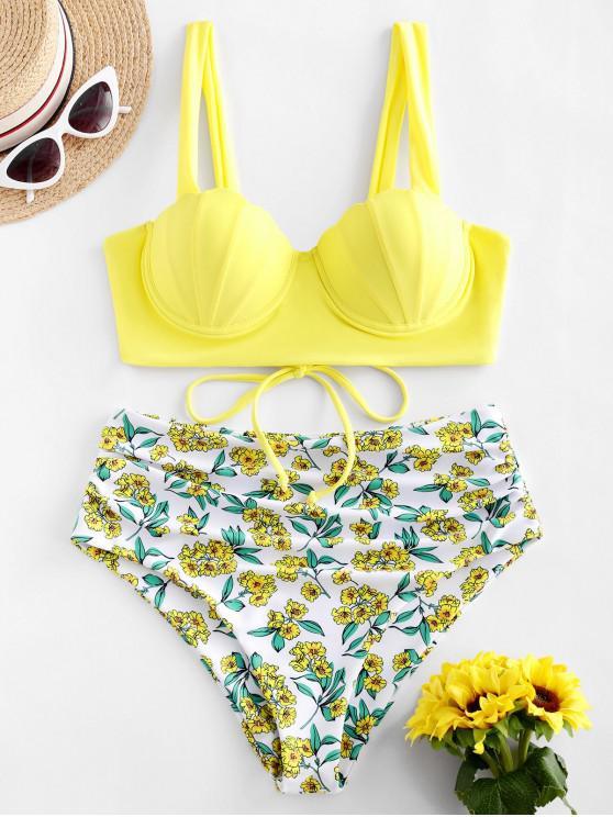 ZAFULTankiniPush Up de Concha Impressão Floral - Amarelo S