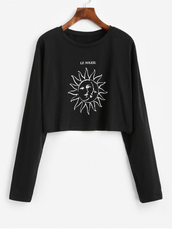 shop Moon and Sun Graphic Long Sleeve Tee - BLACK M