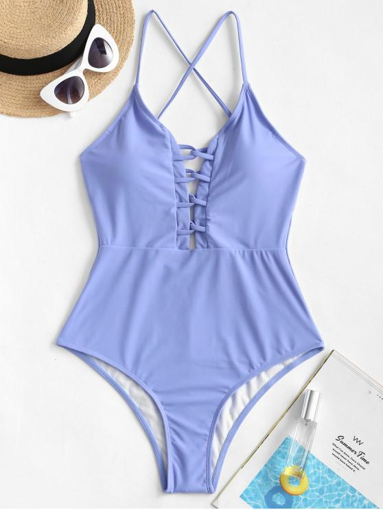 lady ZAFUL Lattice Crisscross One-piece Swimsuit - POWDER BLUE XL