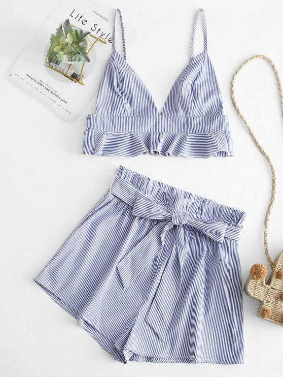 womens ZAFUL Striped Belted Cami Two Piece Suit - SEA BLUE L