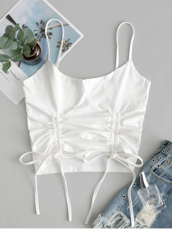 trendy Solid Cinched Front Cropped Cami Top - WHITE L