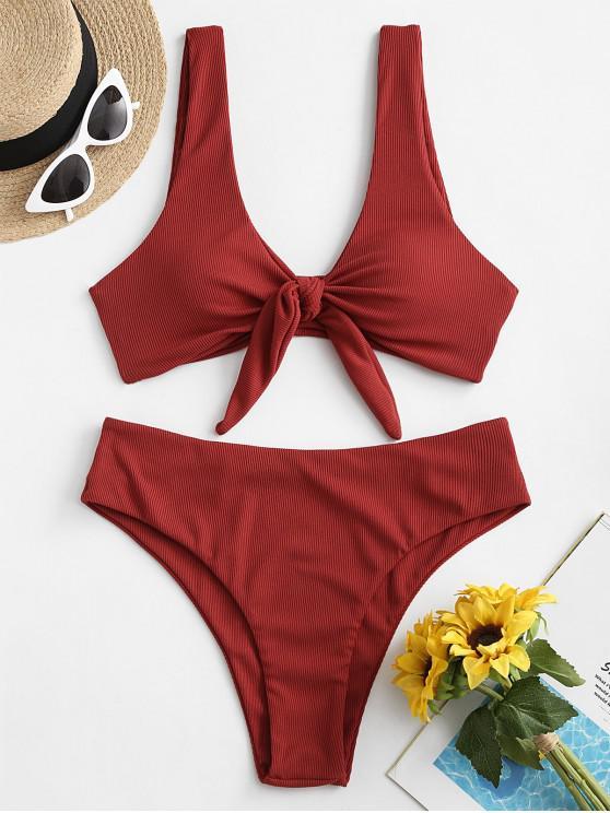 lady ZAFUL Tie Front Ribbed Bikini Swimsuit - RED WINE L