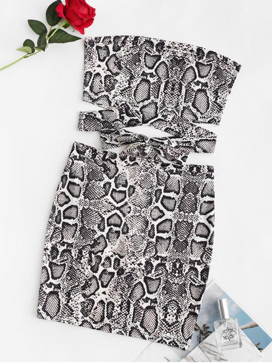 ladies ZAFUL Snake Print Knotted Tube Two Piece Set - MULTI-A L