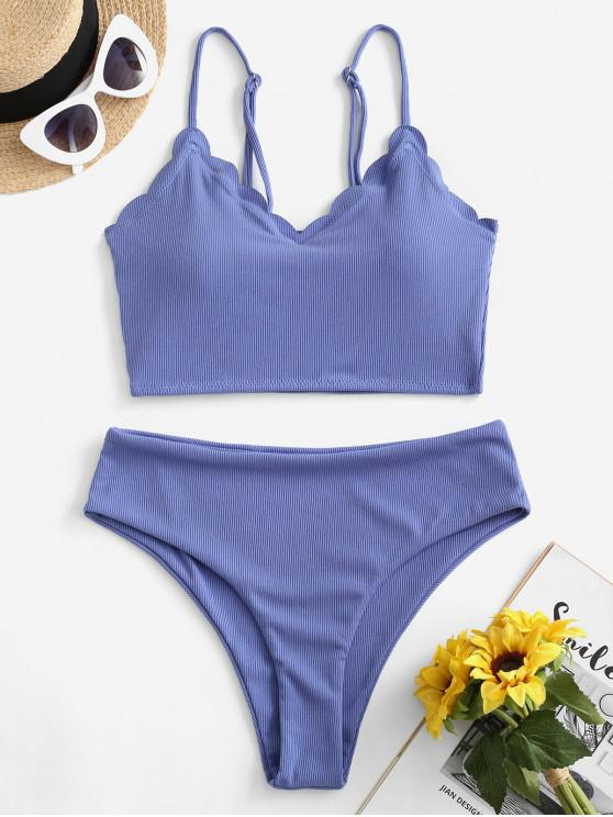 womens ZAFUL Ribbed Scalloped High Waisted Tankini Swimsuit - CORNFLOWER BLUE L