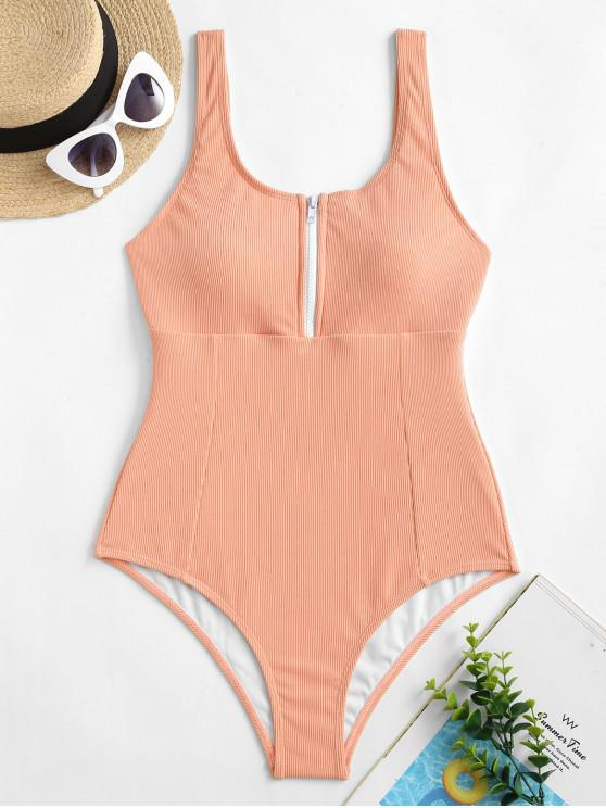trendy ZAFUL Half-zip Ribbed One-piece Swimsuit - ORANGE PINK S