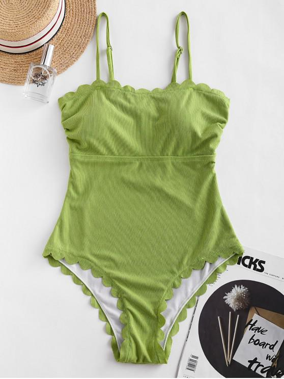 ladies ZAFUL Ribbed Scalloped Tie Back One-piece Swimsuit - PISTACHIO GREEN M