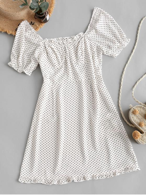 outfits ZAFUL Polka Dot Ruffles Mini Dress - WHITE XL