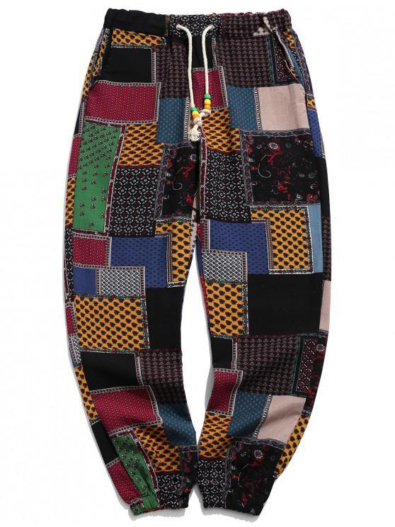 fancy Tribal Ditsy Patchwork Print Long Jogger Pants - MULTI-A XL