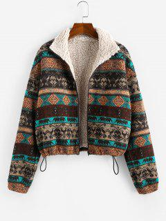 ZAFUL Tribal Print Plaid Faux Fur Lined Jacket - Multi M