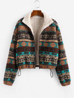 ZAFUL Tribal Print Plaid Faux Fur Lined Jacket - Multi L