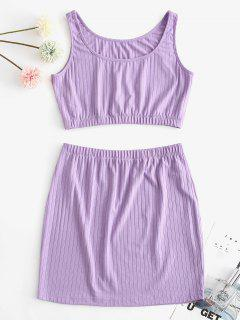 ZAFUL Ribbed Crop Two Piece Skirt Set - Purple S