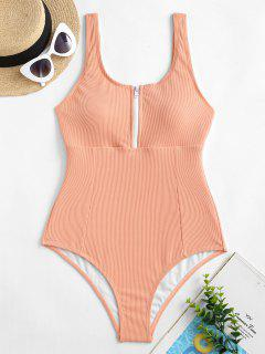 ZAFUL Half-zip Ribbed One-piece Swimsuit - Orange Pink S