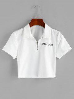ZAFUL Half Zip Cropped Graphic T Shirt - White M
