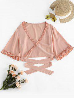 ZAFUL Frilled Criss Cross Crop T-shirt - Sakura Pink M