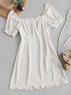 ZAFUL Polka Dot Ruffles Mini Dress - White Xl